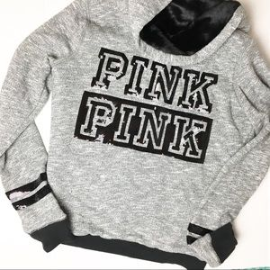 XS Victoria Secret PINK Sequin/Fur Detail Jacket